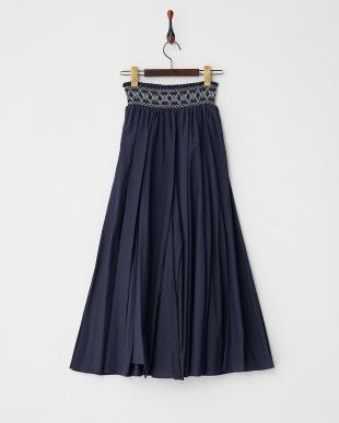 NAVY  スモック刺繍ロングスカート見る