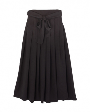 ブラック  ウエストリボンタックロングスカート見る