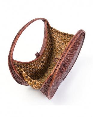 ブラウン  ラウンド アタ素材かごバッグ|WOMEN見る