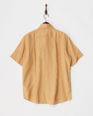 オレンジ  シャンブレーLINEN ポケットコンビシャツ見る