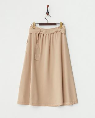 キャメル  フロントボタン ベルト付きスカート見る