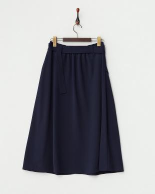 ネイビー  フロントボタン ベルト付きスカート見る