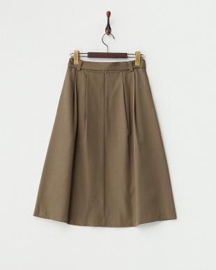 カーキ  ラップ風タック リボンスカート見る