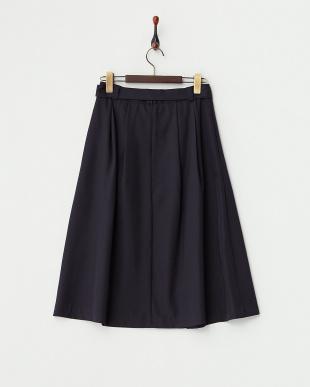ネイビー  ラップ風タック リボンスカート見る