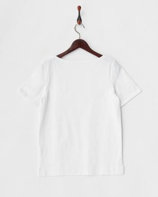 ホワイト  ボートネックTシャツ見る