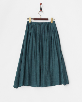 グリーン  ウエストゴム ギャザースカート見る