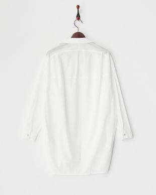 ホワイト  配色パイピングコットンシャツ見る