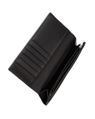 ブラック  牛革スリムタイプ長財布見る