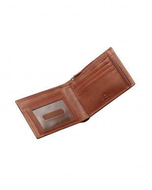 ブラウン  牛革ZIP小銭入れ付き二つ折り財布見る