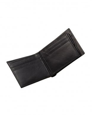 ブラック  牛革カードポケット付き二つ折り財布見る