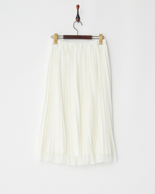 ホワイト シフォンプリーツフレアスカート見る