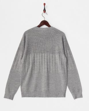 ライトグレー  織り柄切り替えポケット付きクルーネックセーター見る
