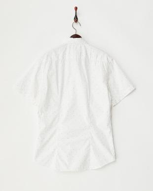 ホワイト トライアングルピンドット柄 半袖シャツ見る