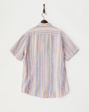 ピンク系  マルチストライプ柄 半袖リネンシャツ見る
