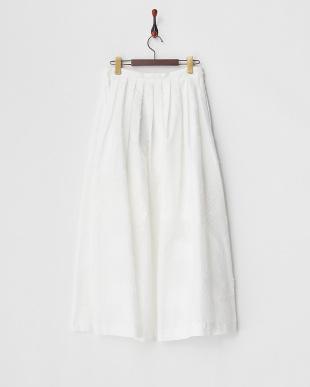 ホワイト  リーフジャガードロングスカート見る