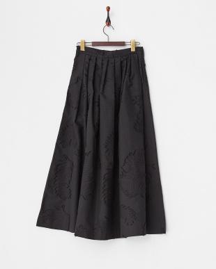 ブラック  リーフジャガードロングスカート見る