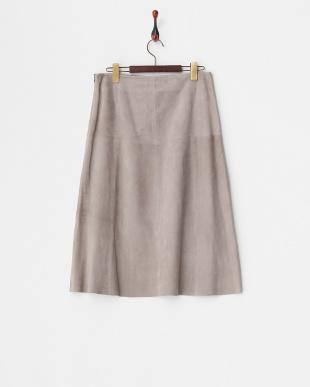 グレー レザーミディスカート見る