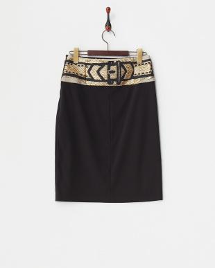 ブラック ラメジャカード切り替えスカート見る