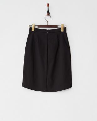 ブラック×ベージュ フロントネイティブ調ジャガードスカート見る