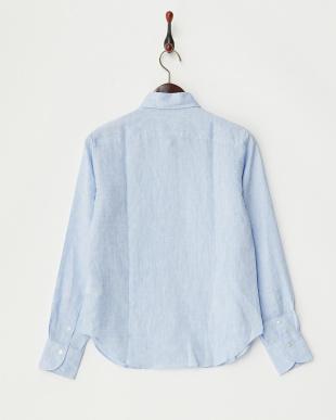 ブルー  無地リネンシャツ見る