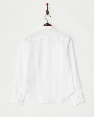 ホワイト  無地リネンシャツ見る