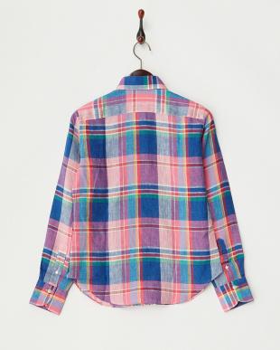 ピンク  マドラスチェックリネンシャツ見る