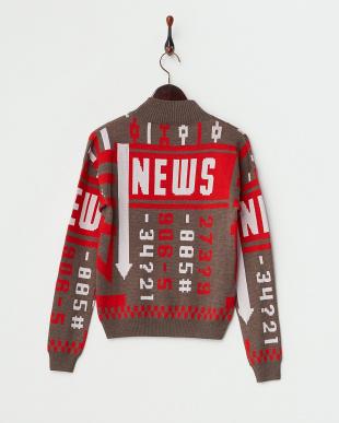 BROWN/RED  婦人配色セーター見る