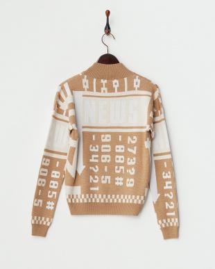 CAMEL/OFF WHITE  婦人配色セーター見る