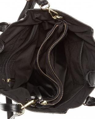 ブラック  バッグインバッグ付きレザーハンドバッグ B見る