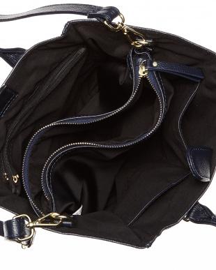 ネイビー  バッグインバッグ付きレザーハンドバッグ B見る