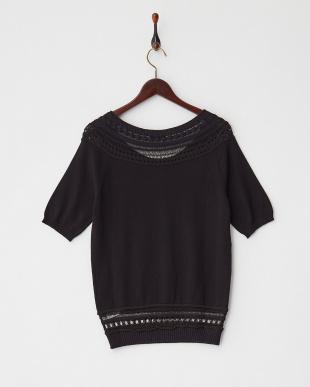 ブラック PRELUDIO 透かし柄編み切り替え半袖ニットプルオーバー見る