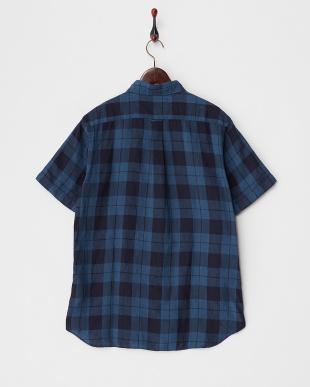 ネイビー  チェック柄 リネン 半袖ボタンダウンシャツ見る