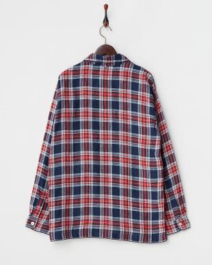 ネイビー  B/リネンチェックシャツ見る