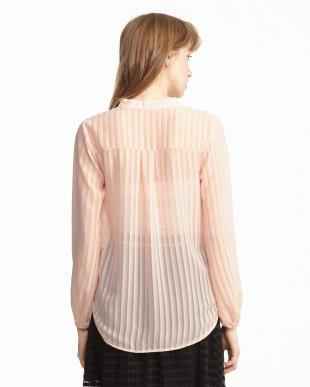 ピンク  裾タック 透かしストライププルオーバー見る