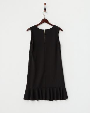 ブラック  裾フリル切り替え カットワークワンピース見る