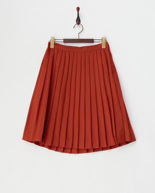 オレンジ  エステルウールプリーツスカート見る