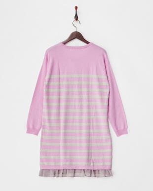 ピンク 裾フリル付きボーダーニットワンピース見る