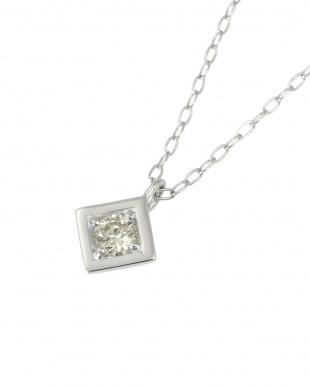 Pt 天然ダイヤモンド 0.08ct オールプラチナ ネックレス・菱形見る