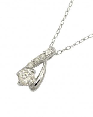 Pt 天然ダイヤモンド計0.2ct プラチナデザイン ネックレス見る