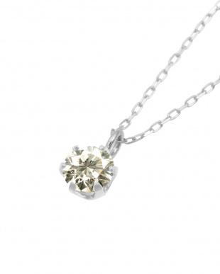 Pt 天然ダイヤモンド 0.2ct SIクラス プラチナ6本爪ネックレス・ あずきチェーン見る