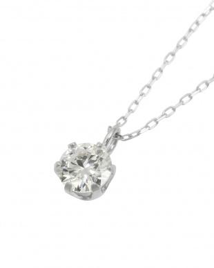Pt 天然ダイヤモンド 0.3ct VVSクラス 6本爪ネックレス・あずきチェーン見る