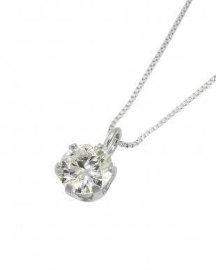 Pt 天然ダイヤモンド 0.3ct VVSクラス 6本爪ネックレス・ベネチアンチェーン見る
