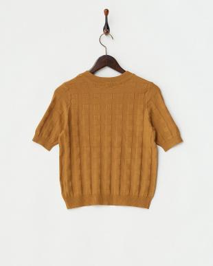 キャメル チェック編み柄5分袖ニットトップス見る