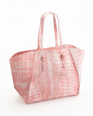 ピンク  クロコ型押しトートバッグ見る