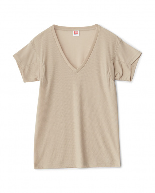 BE/WH  2色セット ワキ汗ジミ防止 吸水速乾 深Vネック2分袖シャツ見る
