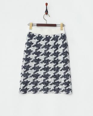 ブルー  ニットタイトスカート見る