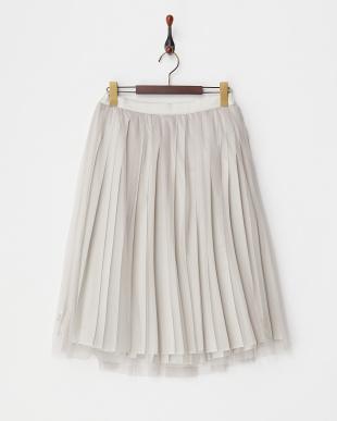 ネイビー プリーツ×チュールリバーシブルスカート見る