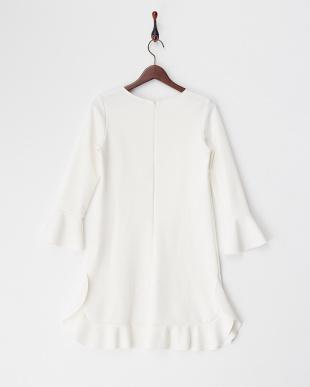 ホワイト 袖&裾フレア切り替えワンピース見る