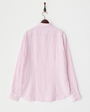 ピンク  リネン カッタウェイシャツ見る