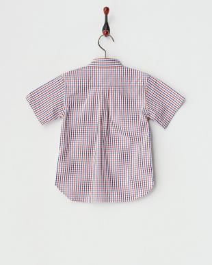 レッド  半袖チェックシャツ見る